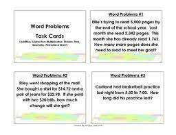 problem solving task cards grade 3 task cards math word