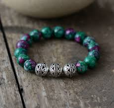 beaded elastic bracelet images Mens beaded bracelets 10mm natural stone tibetan beads elastic jpg