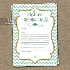 words of wisdom cards for bridal shower mint bridal shower advice cards mint gold chevron bridal