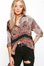 paisley blouse amelia paisley printed shirt boohoo