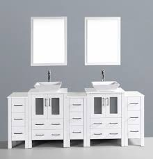 84 Inch Double Sink Bathroom Vanity by Contemporary 84 Inch White Vessel Sink Bathroom Vanity Set With Mirror