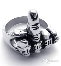 gear wedding ring flicking the bird middle finger up biker rings for men motorcyle
