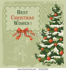 vintage christmas card decorated spruce stock vector 86613988