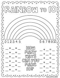 rainbow number combinations to 10 freebie from cupcake for the