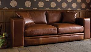 antique brown top grain leather sofa gold nailheads russcarnahan