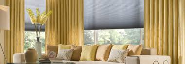 interior design glass window with bali blinds and yellow curtains