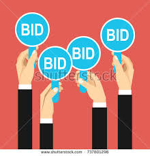bid auction auction bidding concept holding auction stock vector