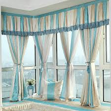 Blue Valance Curtains Classic Blue And Beige Poly Cotton Bay Window Curtain No Valance