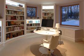 office luxury home office with library and round white painted