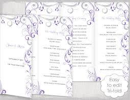 tri fold wedding program trifold wedding program template wisteria and silver