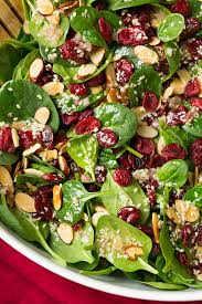 cranberry almond spinach salad with sesame seeds dressing