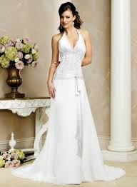 slim line halter chiffon lace wedding dresses brideofthesea prlog