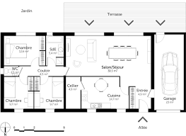 plans maison plain pied 4 chambres plan maison plain pied rectangulaire ooreka