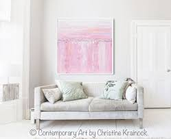 giclee print art abstract painting pink white grey canvas wall art