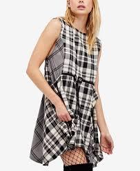 free people land lines plaid dress dresses women macy u0027s