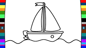 how to draw and colour a boat art of coloring for kids youtube