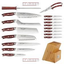 Kitchen Knives Block by Ergo Chef Crimson Series 18 Piece Knife Block Set Premium Chef