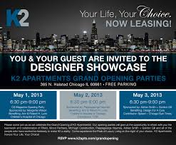 Invitation Card For Grand Opening Designer Showcase Grand Opening Parties At K2 Apartments U2013 Yochicago