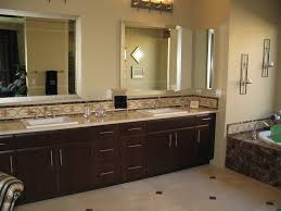 master bathroom design with brown ceramic idea and white bathtub