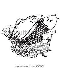 outline koi fish flower stock vector 578204899