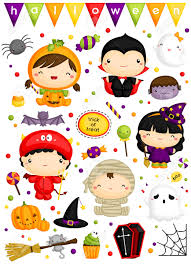 kids in halloween costume vector set royalty free cliparts