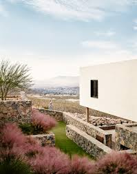stone desert volcanic stone and white stucco create major contrast on hazelbaker