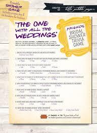 wedding gift quiz friends tv show trivia bridal shower printable friends