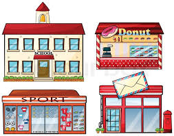 a school donut store sport shop and a post office stock vector