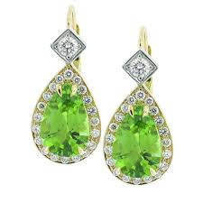 peridot earrings 18 karat gold diamond and peridot earrings