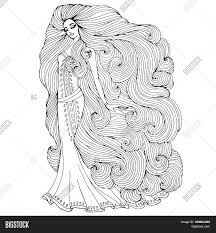 vector hand drawn princess young with long wavy hair in a