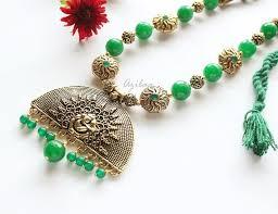 ethnic necklace images Ethnic green pendant necklace set antique gold tone necklace set jpg