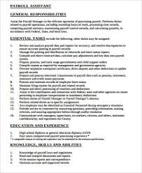 Payroll Manager Resume Payroll Specialist Job Description Payroll Specialist Payroll