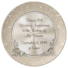 18th anniversary gift any year happy 18th anniversary plate wedding and wedding