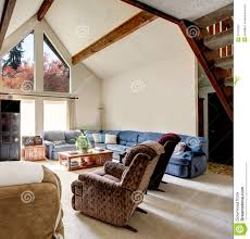 Cabin Style Big Log Cabin Style Living Room With Rocky Wall Design Royalty