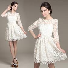 long sleeve white lace dress mid length long back short front