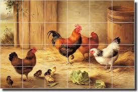 Ceramic Tile Mural Backsplash by Chickens In A Barnyard