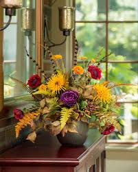 Fall Centerpieces With Feathers by Decorate With Poppy Fern U0026 Feather Silk Flower Centerpiece At