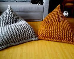 chunky merino wool light grey knitted kids bean bag
