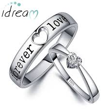 engraving engagement ring promise rings for couples heart shaped cz diamond engagement ring