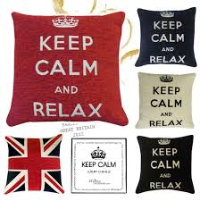 British Flag Pillow Keep Calm Carry On Relax Chenille Filled Cushions Or Cushion