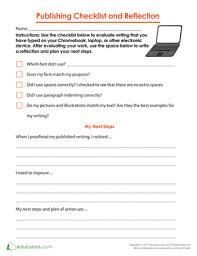 publishing checklist and reflection worksheet education com