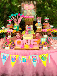 owl themed first birthday party teal pink and yellow candy
