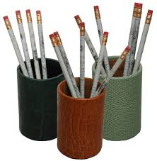 Pencil Holders For Desks by Desk Accessories In Leather And Chrome