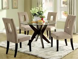 Dining Room Sets White Simple White Round Dining Table 4 Legs Glass With Leather Chairs