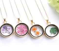 flower necklace images Wholesale fashion four leaf clover shamrock real dry flower jpg