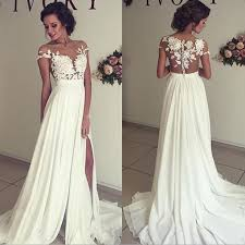wedding dress a line a line split side sheer neck wedding dress bridal gown