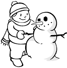 winter coloring pages young boy making snowman free coloring