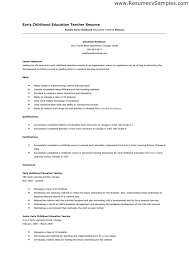 collection of solutions sample resume for early childhood teacher