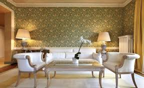 contemporary living room using abstract wallpaper and furnished