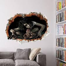 halloween wall art bibitime vivid 3d brick hole view of spooky horrific bloody female